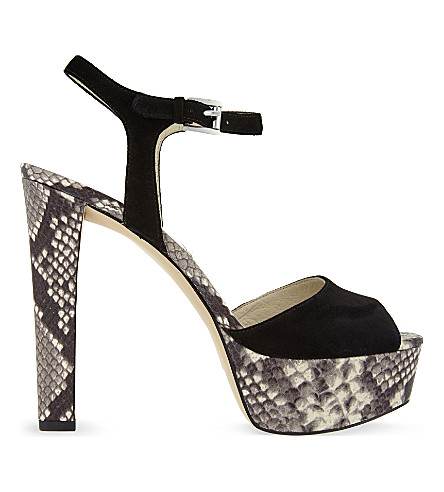 MICHAEL MICHAEL KORS Trish snake-embossed leather heeled sandals (Blk/beige