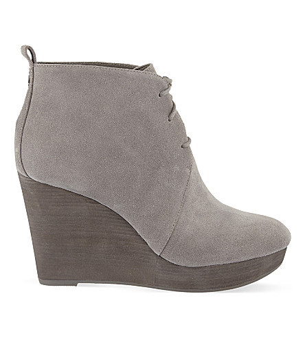 MICHAEL MICHAEL KORS Pierce suede wedge ankle boots (Grey mid