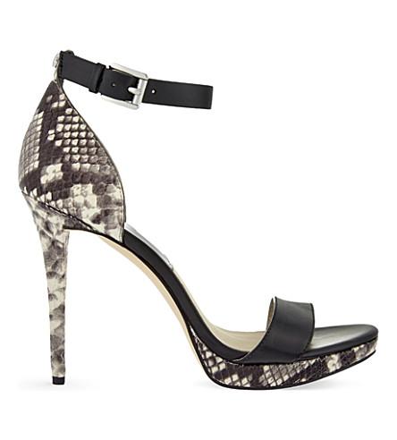 MICHAEL MICHAEL KORS Sienna snake-embossed leather heeled sandals (Blk/beige