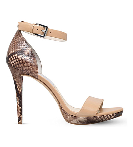 MICHAEL MICHAEL KORS Sienna snake-embossed leather heeled sandals (Taupe+comb