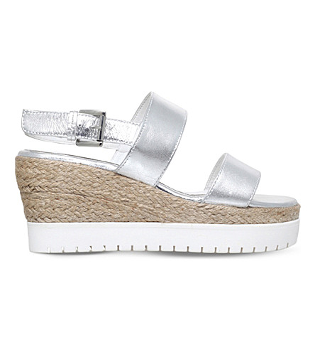 CARVELA Kup metallic leather wedge sandals (Silver