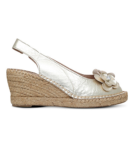 CARVELA COMFORT Poppy embellished leather wedge sandals (Gold