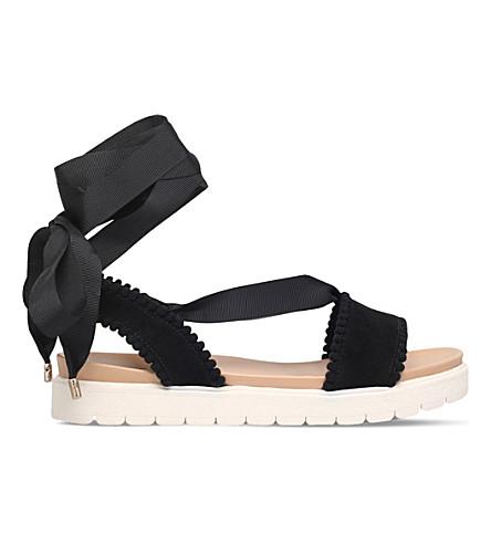 MISS KG Dakota pom-pom suedette sandals (Black