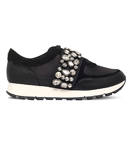 KG KURT GEIGER Lovely embellished satin trainers (Black