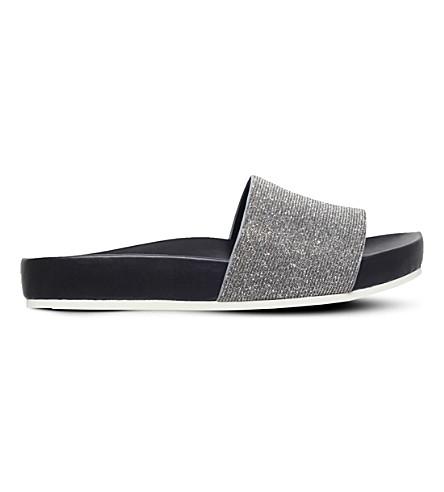 KG KURT GEIGER Missy embellished slider sandals (Silver