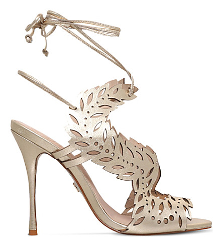 KG KURT GEIGER Horatio cutout metallic-leather heel sandals (Gold