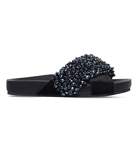 KG KURT GEIGER Magnus beaded velvet sliders (Black