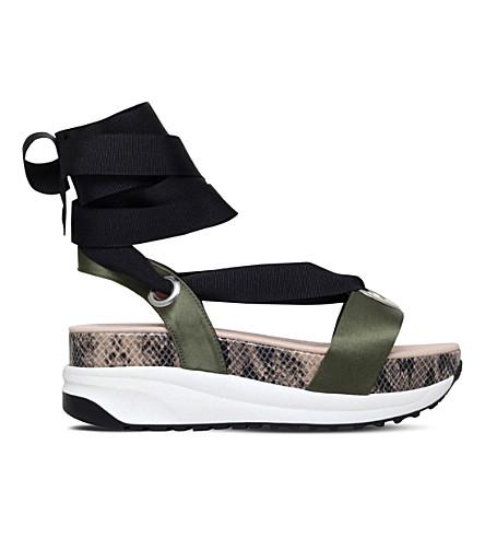 KG KURT GEIGER Newman satin flatform sandals (Khaki