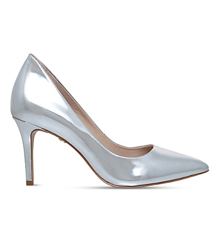 KG KURT GEIGER Bella metallic-leather court shoes (Silver