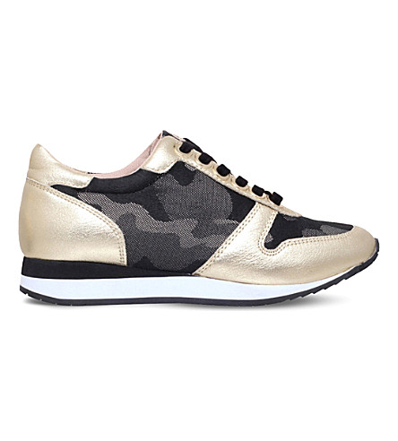 CARVELA Libby camoulflage and metallic leather trainers (Gold+comb