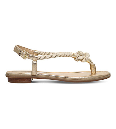 MICHAEL MICHAEL KORS Holly leather and rope sandals (Gold