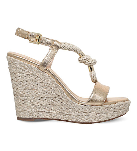 MICHAEL MICHAEL KORS Holly wedge leather and rope sandals (Gold