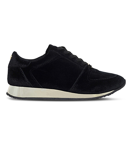 CARVELA Languid metallic velvet trainers (Black