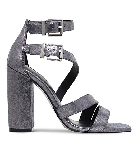 CARVELA Goody strappy fabric heeled sandals (Gunmetal