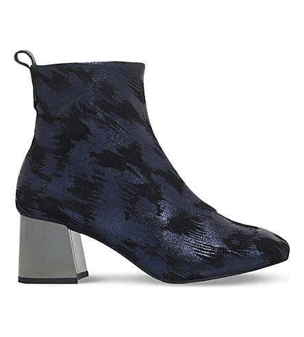 KG KURT GEIGER Snoopy metallic leather block-heel boots (Blue other