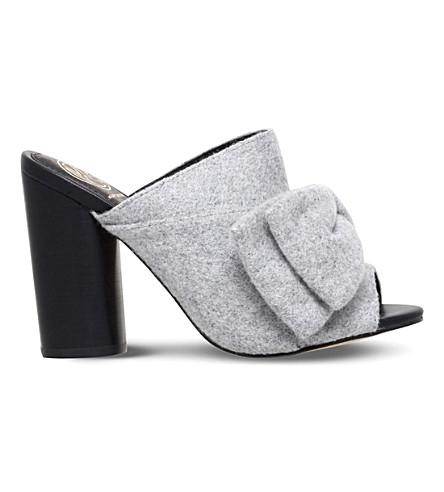 KG KURT GEIGER Jessie bow-detail fabric mules (Grey