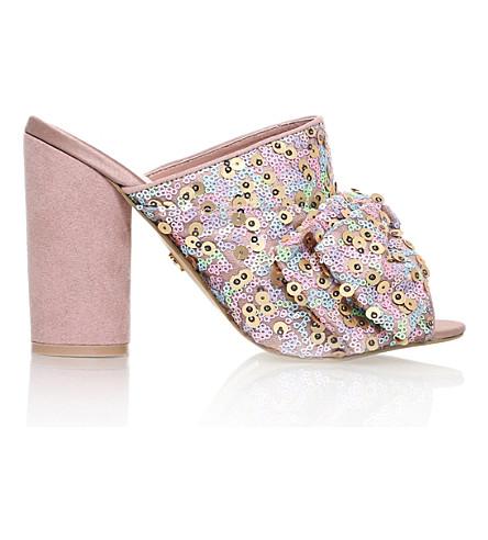 KG KURT GEIGER Jessie bow-detail sequin mules (Pale pink