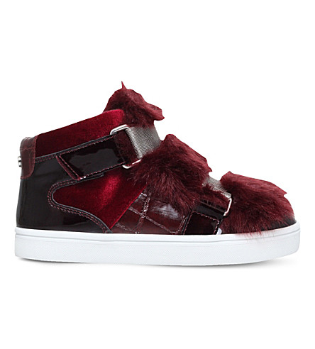 CARVELA Lovely faux fur detail trainers (Wine