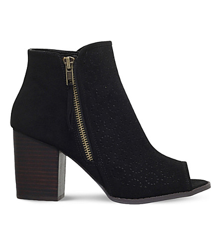 MISS KG Sasha faux-suede peep toe ankle boots (Black