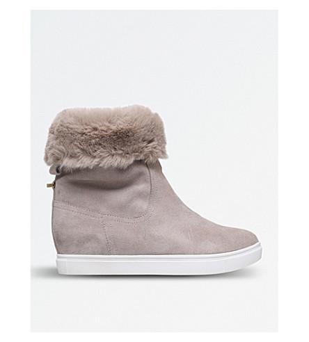 KG KURT GEIGER Scorpio faux-fur trim suede ankle boots (Beige+oth