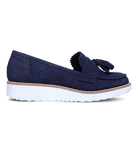 CARVELA Limbo leather flatform loafers (Navy