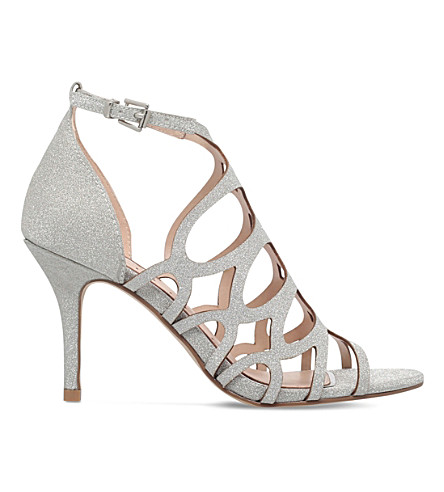 MISS KG Glide glitter heeled sandals (Silver