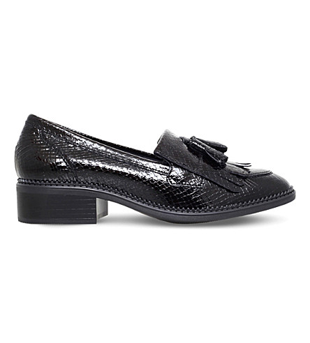 KG KURT GEIGER Konker reptile-effect leather loafers (Black