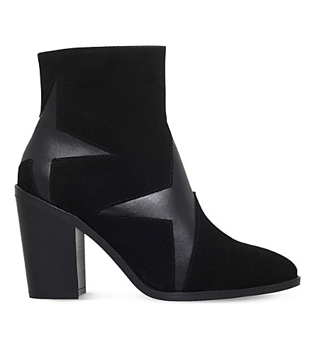 KG KURT GEIGER Skywalk leather and suede star ankle boots (Black