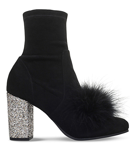 KG KURT GEIGER Rio faux-fur and suedette heeled boots (Black