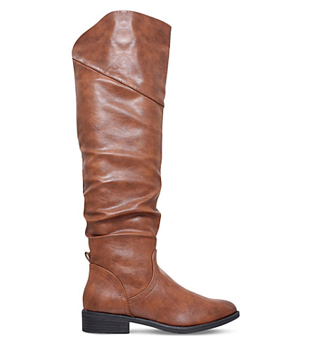 MISS KG Willa ruched knee-high boots (Tan