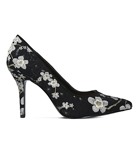 NINE WEST Flagship floral-embroidered courts (Blk/other