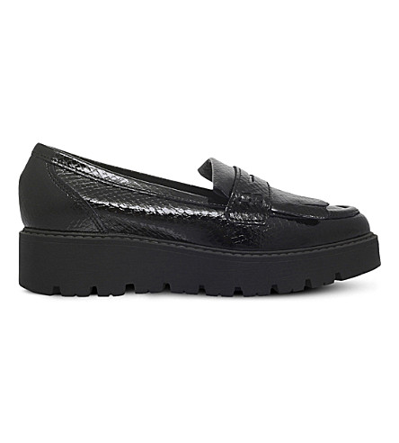 KG KURT GEIGER Kompton leather flatform loafers (Black