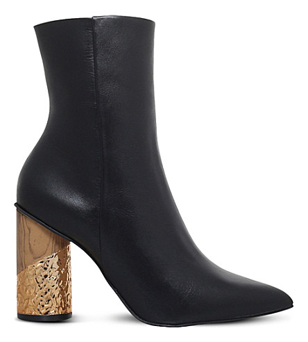 KG KURT GEIGER Raffle metallic leather boots (Black