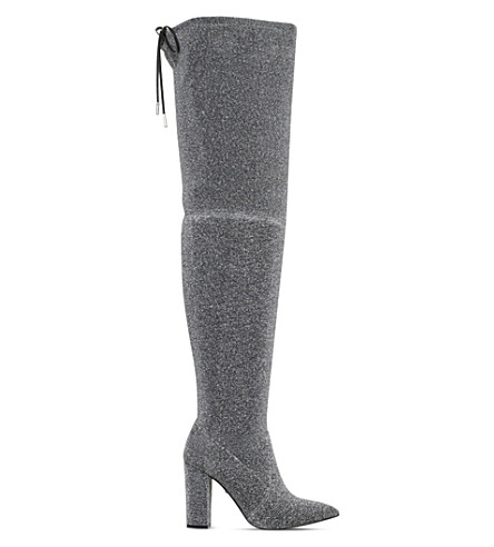 CARVELA Grape glitter over-the-knee boots (Silver