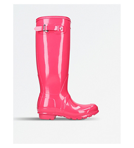 HUNTER Original Gloss tall wellies (Fushia+cmb