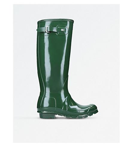 HUNTER Original Gloss tall wellington boots (Green
