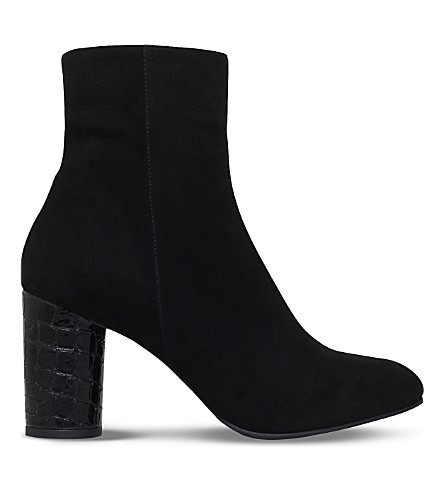 CARVELA Smile croc-embossed heel suede ankle boots (Black