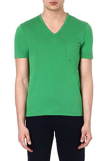 JOSEPH Washed cotton v-neck pocket t-shirt