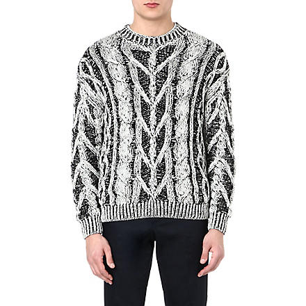 JOSEPH Contrast cable-knit jumper (Black/white