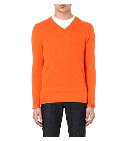JOSEPH V-neck luxury cashmere jumper (Orange