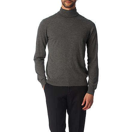 JOSEPH Cashmere and silk-blend roll-neck jumper (Charcoal