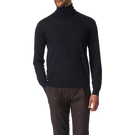 JOSEPH Cashmere and silk-blend roll-neck jumper (Navy