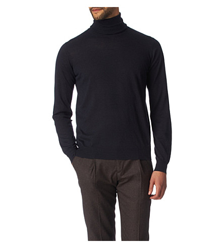 JOSEPH Cashmere and silk-blend roll-neck jumper (Navy