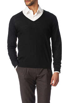 JOSEPH Cashmere and silk-blend v-neck jumper