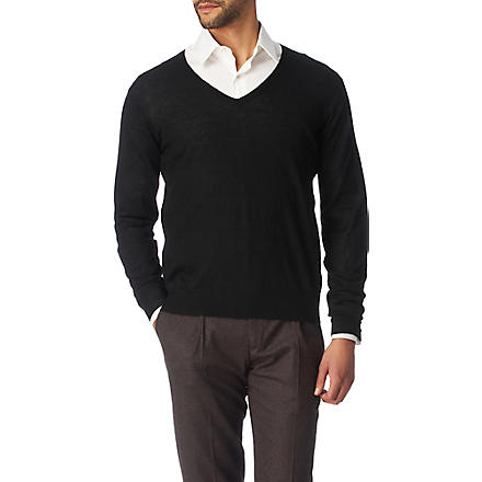 JOSEPH Cashmere and silk-blend v-neck jumper (Black