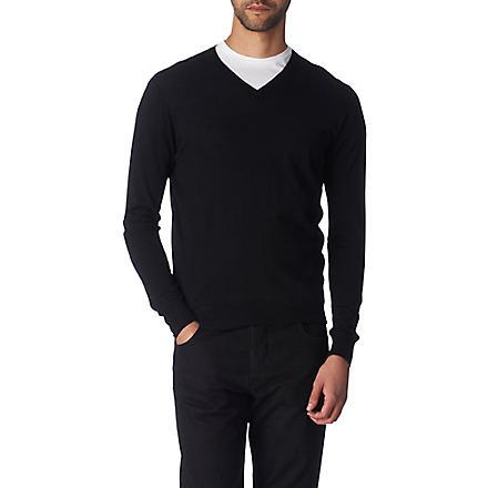JOSEPH Elbow-patch wool jumper (Black