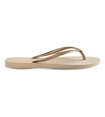 HAVAIANAS Slim rubber flip-flops (Sand grey/ golden