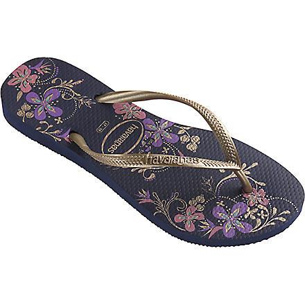 HAVAIANAS Slim flip flops (Navy blue/gold