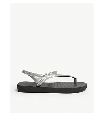 HAVAIANAS 闪光城市橡胶凉鞋 (黑/银