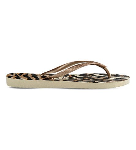 HAVAIANAS Slim animal-print flip-flops (Beige/rose+gold